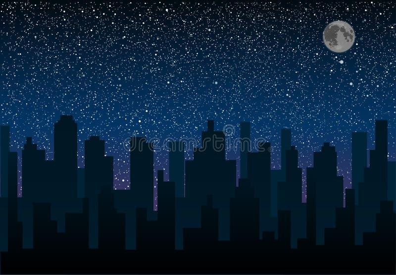 Silhouette de vecteur de la ville Ciel d'étoile ENV 10 image stock