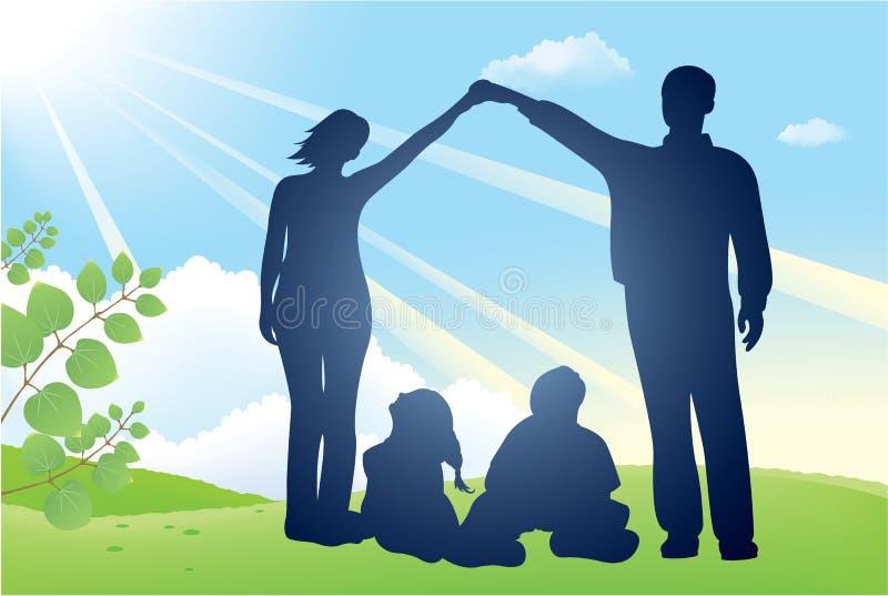Silhouette de vecteur de maison de famille illustration libre de droits