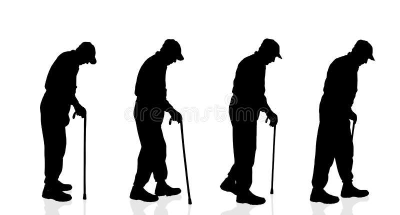 Silhouette de vecteur de vieil homme illustration de vecteur