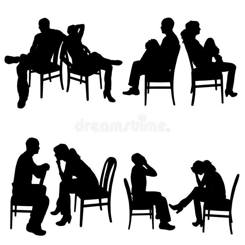 Silhouette de vecteur des couples illustration libre de droits