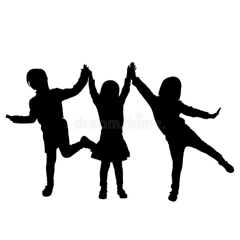 Silhouette de vecteur des enfants illustration de vecteur