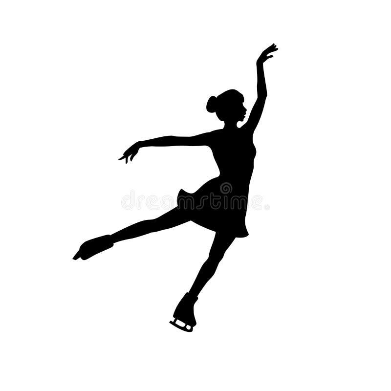 Silhouette de vecteur de fille de patinage artistique illustration libre de droits