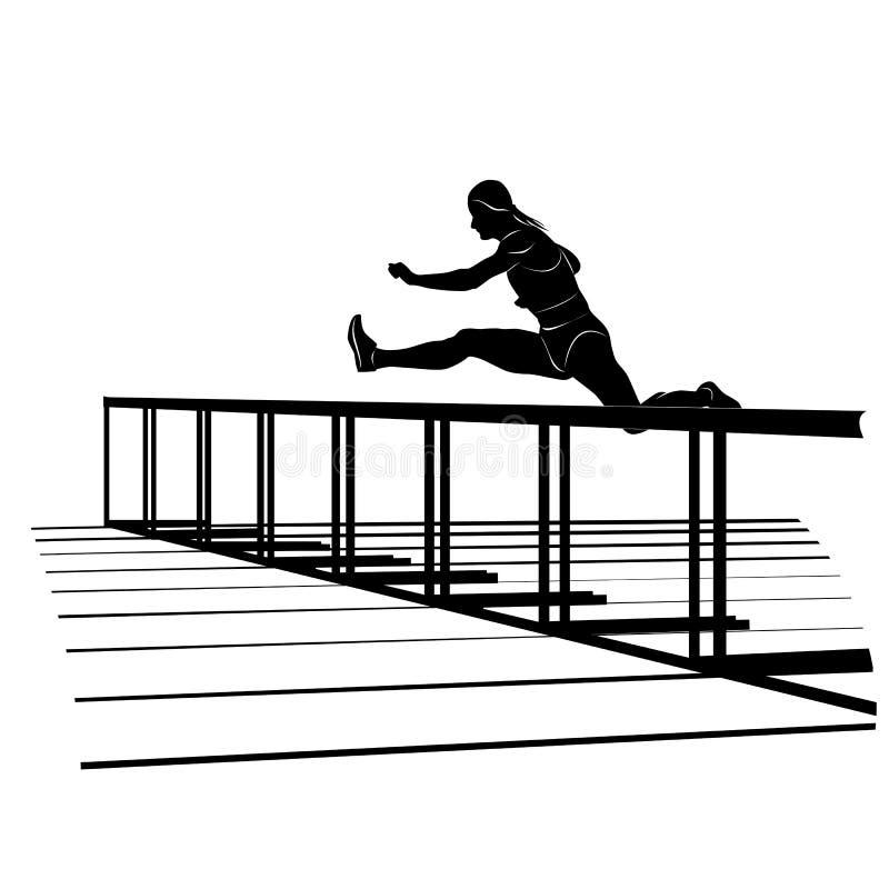 Silhouette de vecteur de fille sautant par-dessus l'obstacle images libres de droits