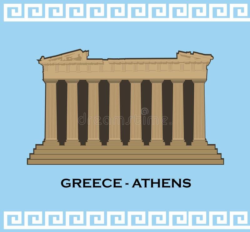 Silhouette de vecteur de la ruine de parthenon ? la citadelle d'Acropole, Ath?nes, Gr?ce Vecteur de construction de point de repè illustration de vecteur