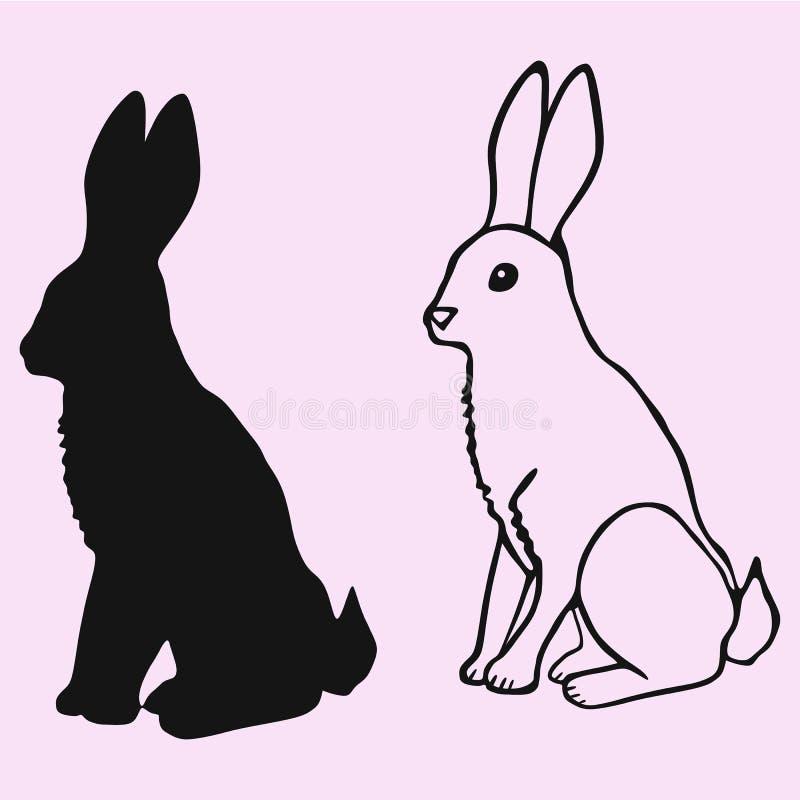 Silhouette de vecteur de lapin d'isolement photos stock