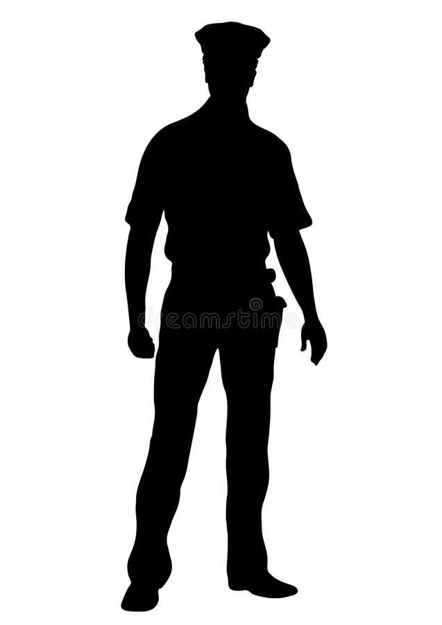 Silhouette de vecteur de policier, homme d'ensemble tenant la partie antérieure intégrale, flic masculin de portrait de découpe d illustration libre de droits
