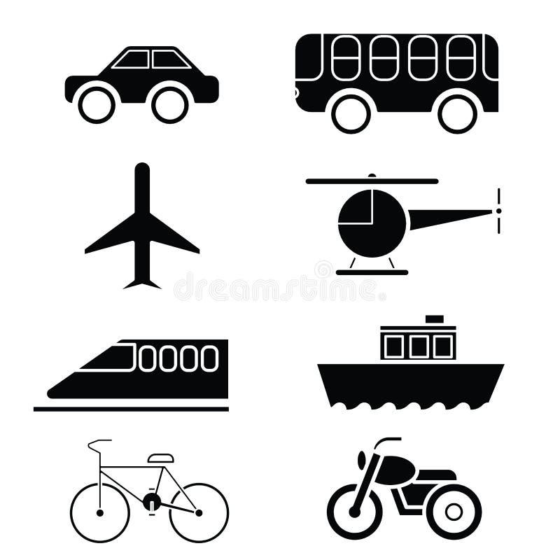 Silhouette de vecteur réglé d'icône de transport illustration libre de droits