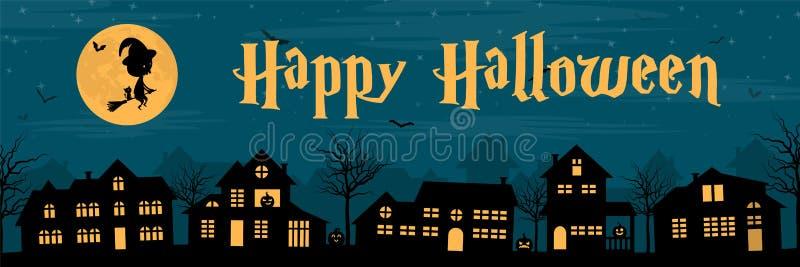 Silhouette de ville avec des potirons et des battes d'une sorcière à la bannière heureuse de Halloween de nuit illustration libre de droits