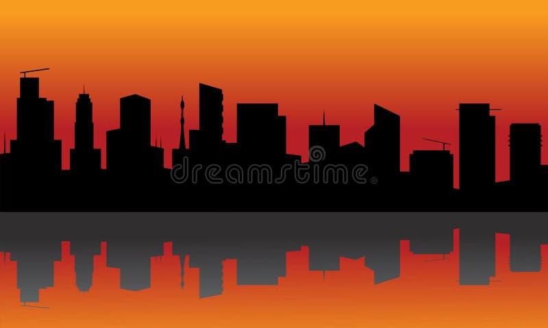 Silhouette de ville avec le fond orange illustration de vecteur