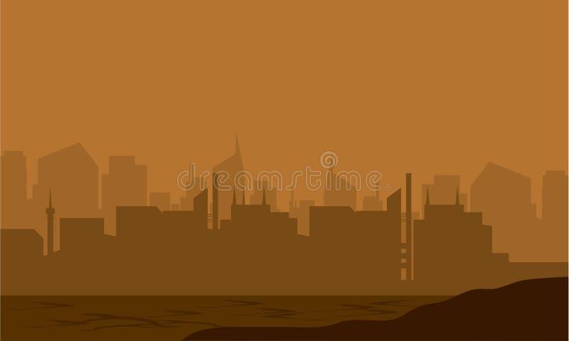Silhouette de ville dans le désert illustration libre de droits