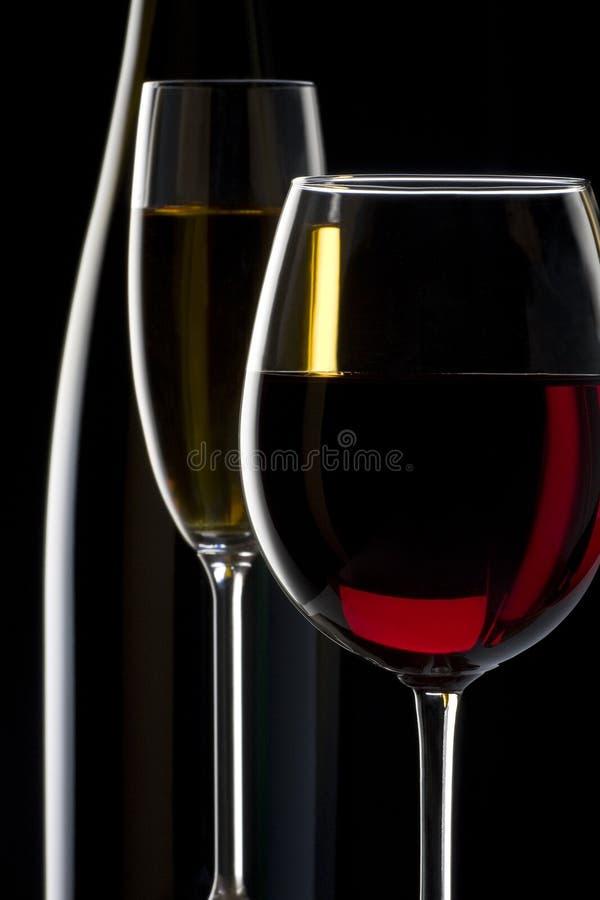 Silhouette de vin rouge et blanc photo libre de droits
