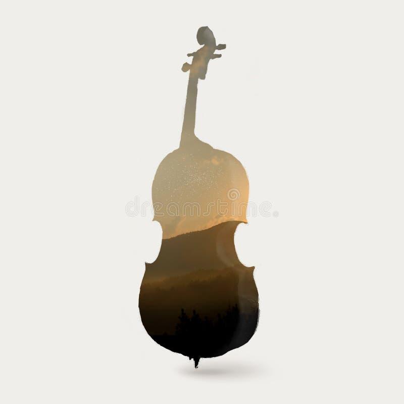 Silhouette de violoncelle illustration libre de droits