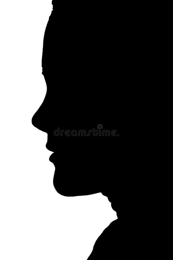 Silhouette de visage de femme image stock