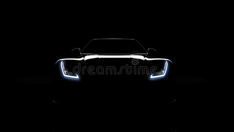 Silhouette de voiture de sport noire sur le noir illustration stock