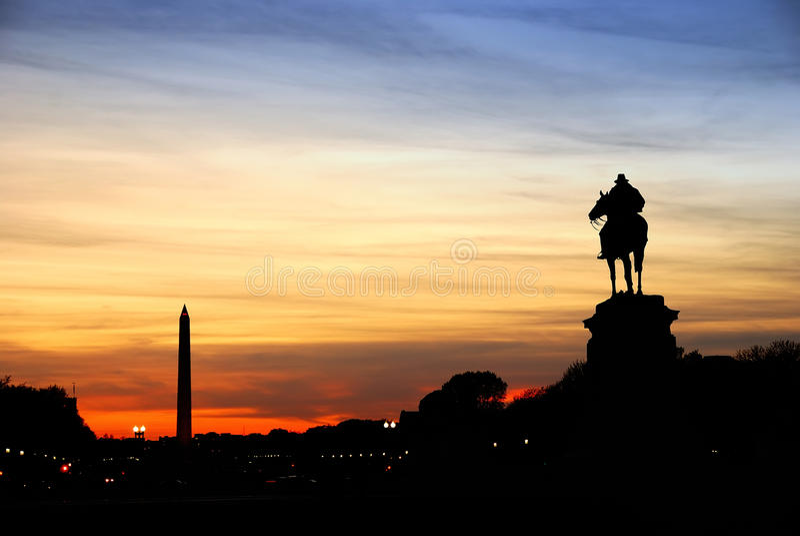 Silhouette de Washington DC photo stock