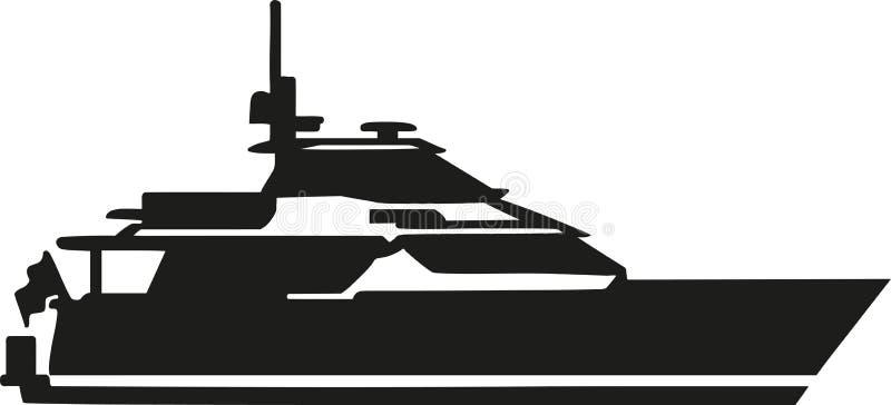 Silhouette de yacht de moteur illustration stock