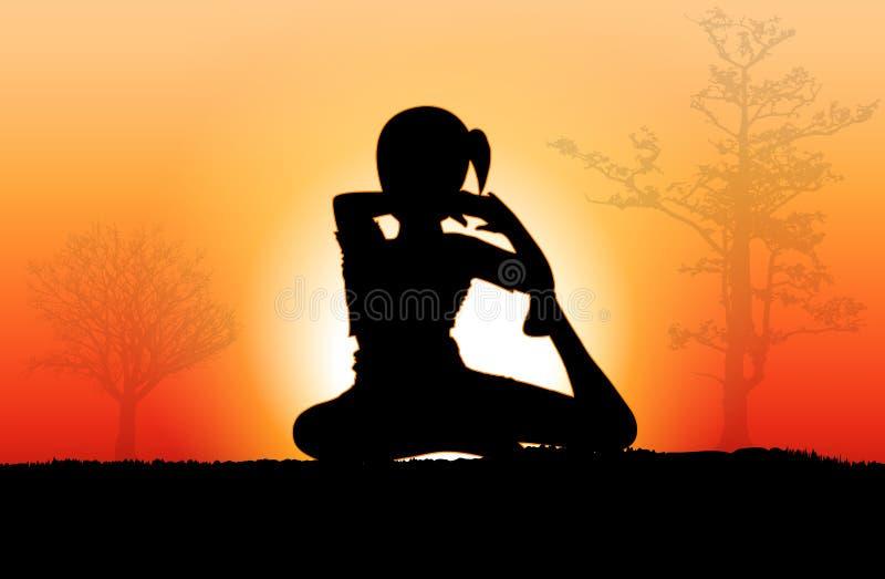 Silhouette de yoga illustration stock