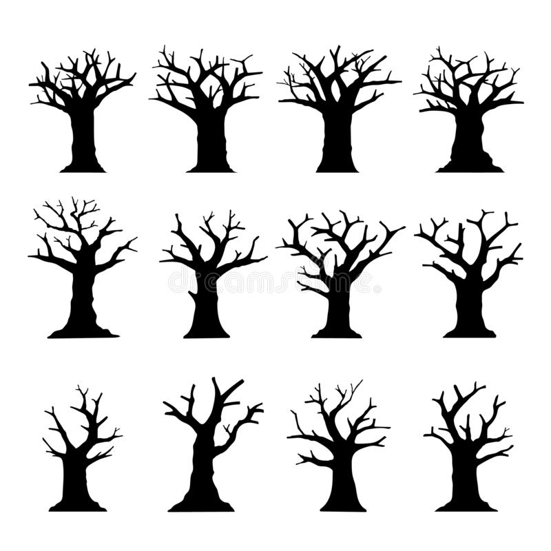 Silhouette Dead Tree without Leaves collection isolated on white. royalty free stock image