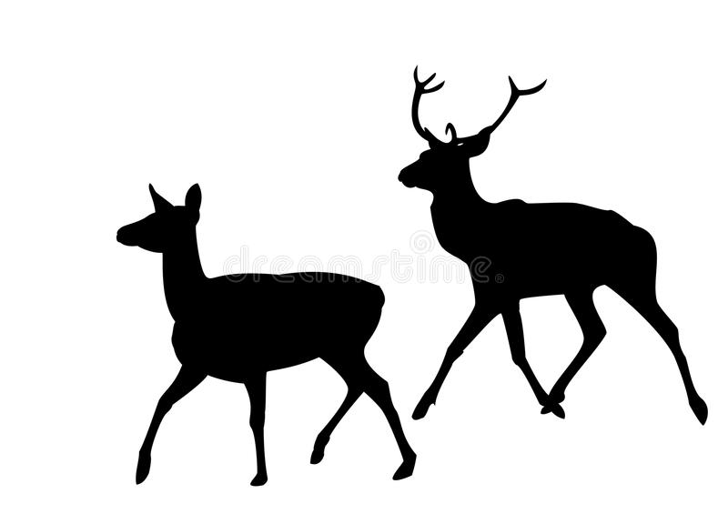 Silhouette of a deer royalty free illustration