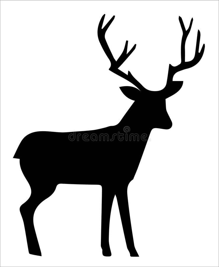 Silhouette of deer stock illustration
