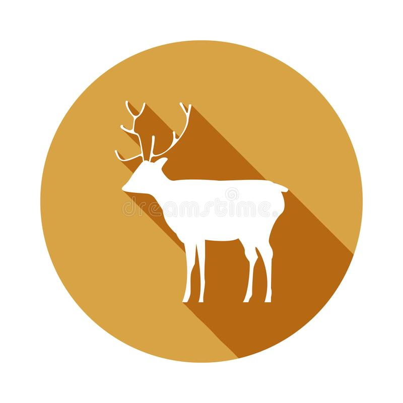 silhouette of a deer icon in Flat, Long shadow vector illustration