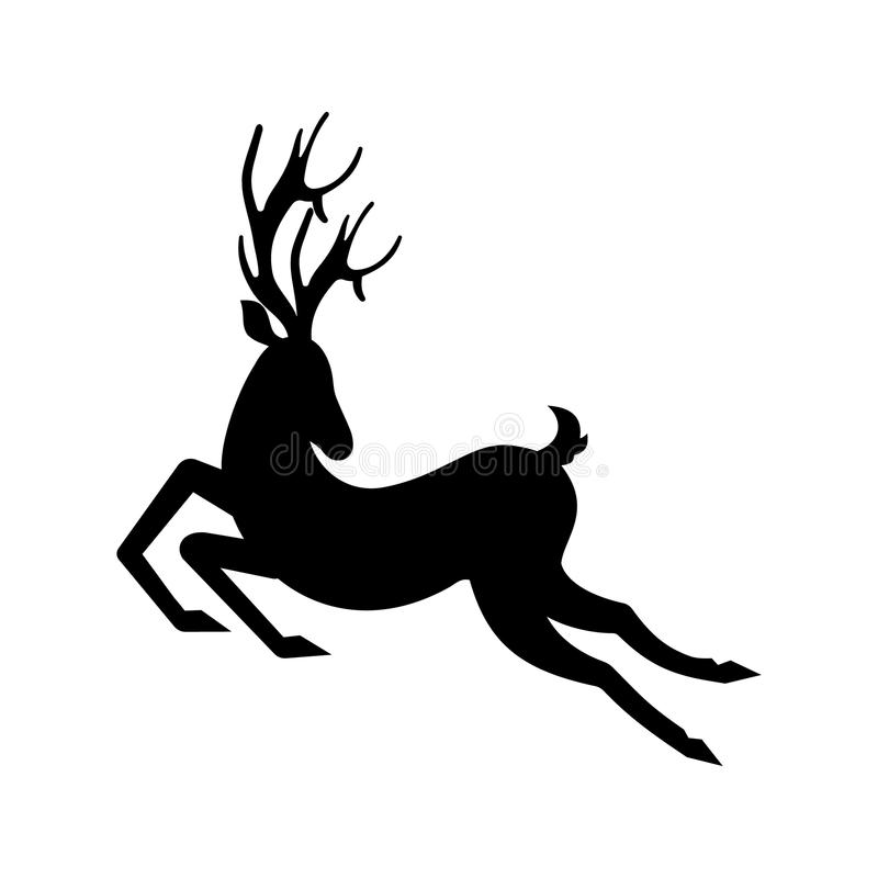 Silhouette Deer Running. Reindeer Moving. Leaping Stag stock illustration