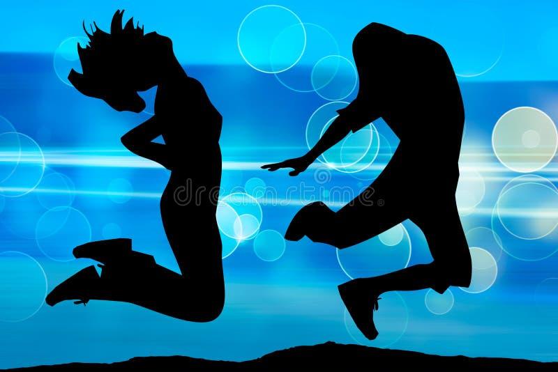 Silhouette des adolescents sautants illustration de vecteur