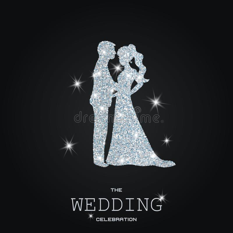 Silhouette des ajouter de mariage aux scintillements illustration stock