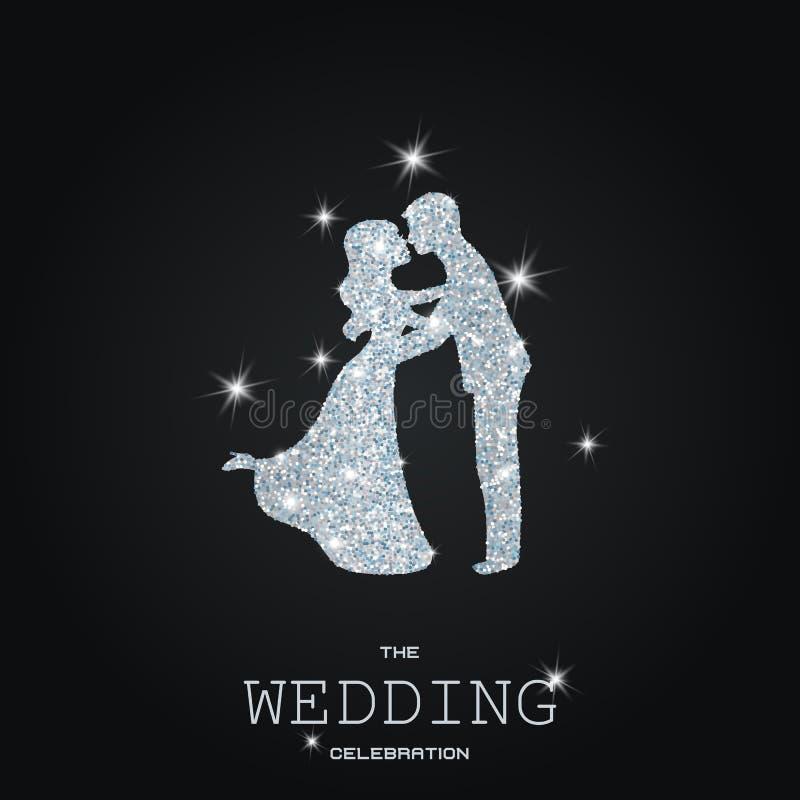 Silhouette des ajouter de mariage aux scintillements illustration libre de droits