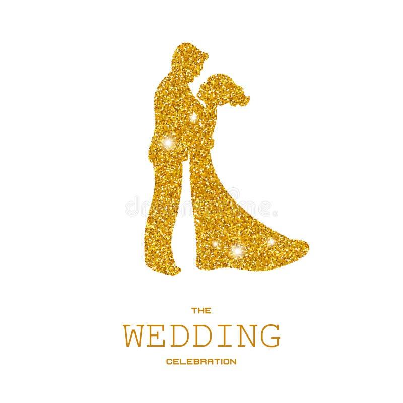 Silhouette des ajouter de mariage aux scintillements d'or illustration libre de droits
