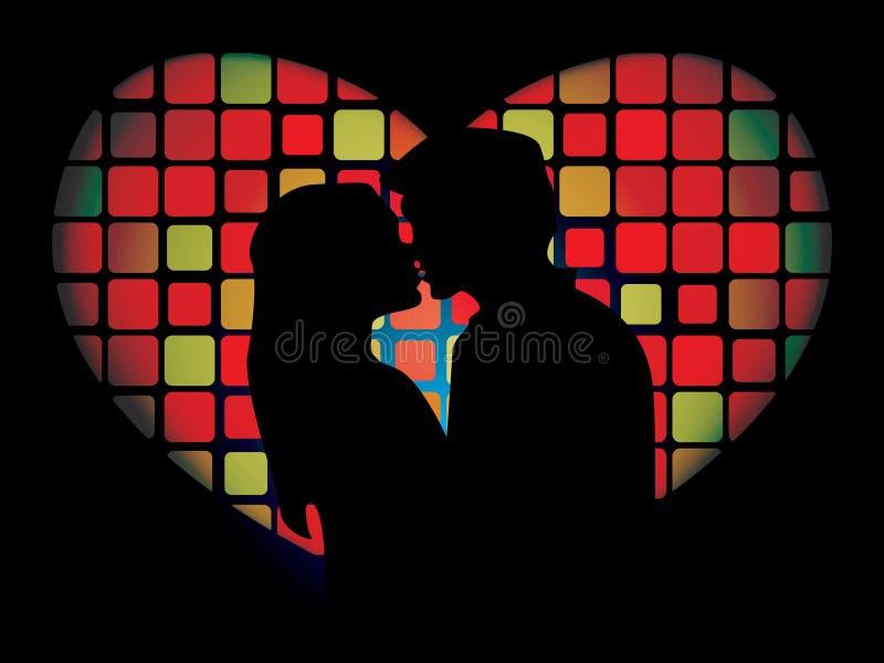 Silhouette des amoureux illustration stock