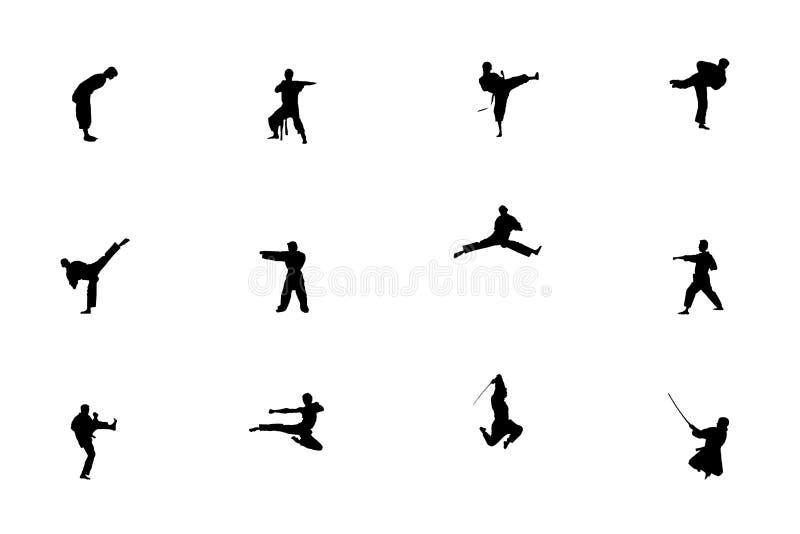 Silhouette des arts martiaux illustration de vecteur