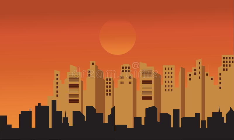 Silhouette des bâtiments à l'après-midi illustration libre de droits