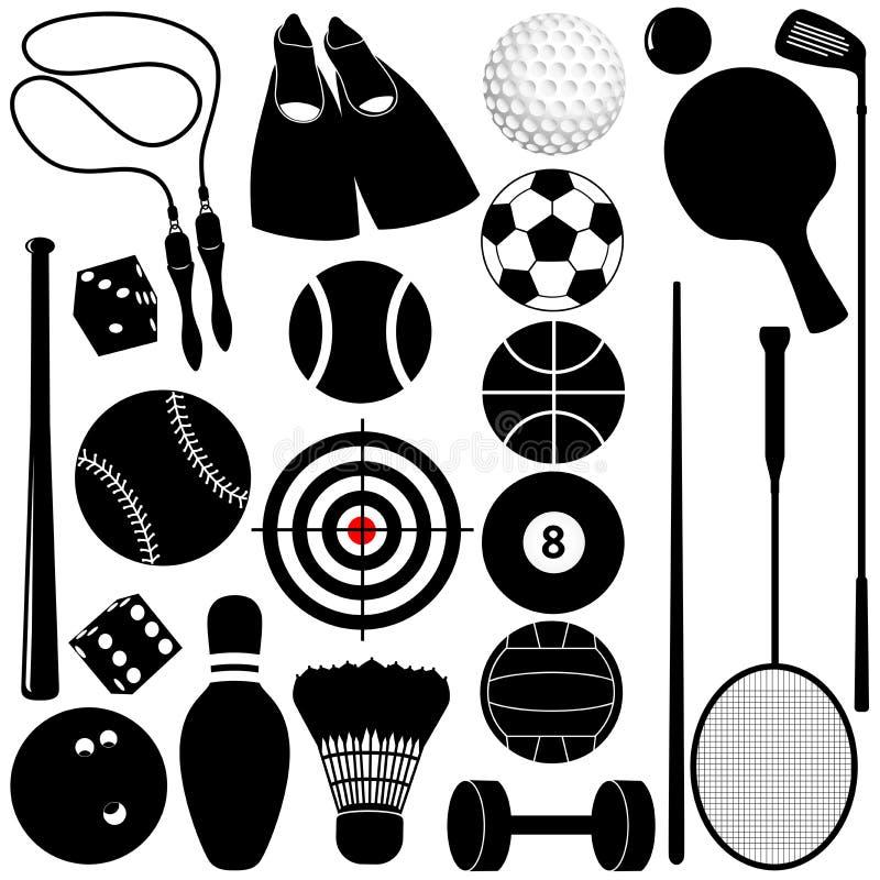 Silhouette des billes, d'autres matériels d'exercice illustration stock