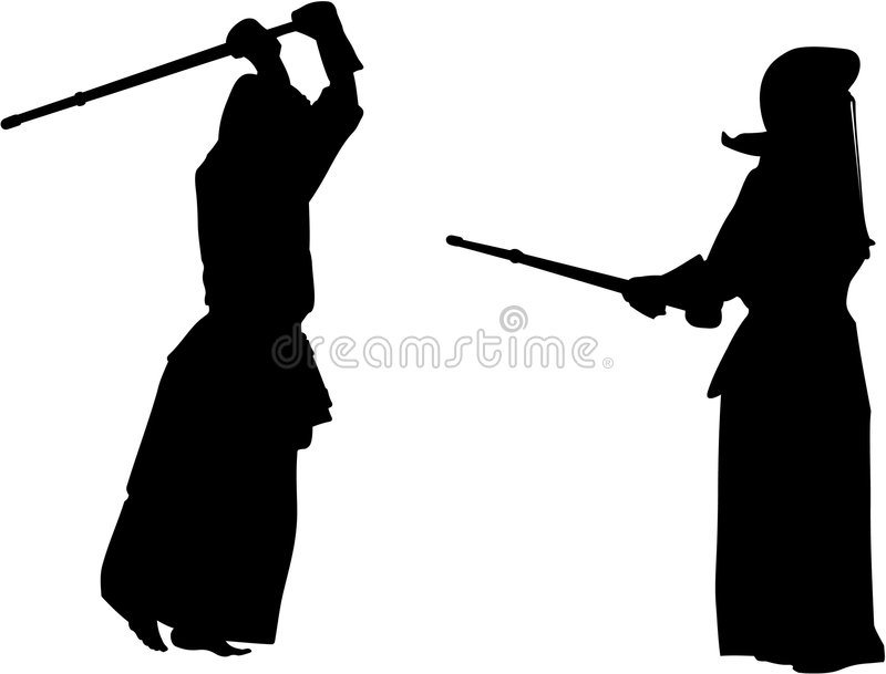 Silhouette des chasseurs #2 de Kendo illustration libre de droits