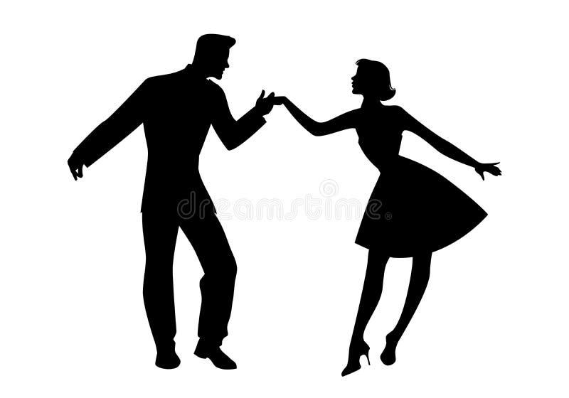 Silhouette des couples portant la rétro roche de danse de vêtements, le rockabilly, l'oscillation ou l'houblon lindy d'isolement  illustration de vecteur