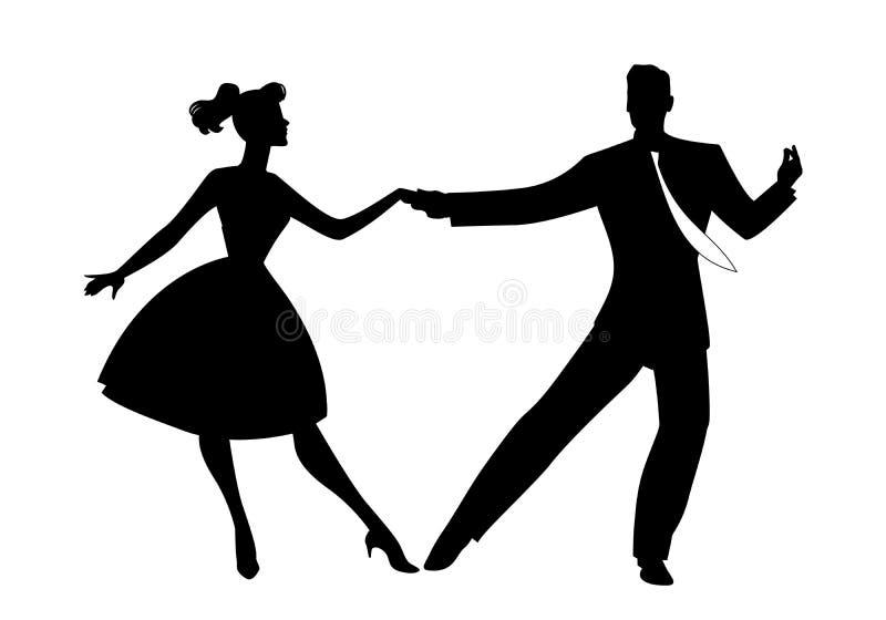 Silhouette des couples portant la r?tro roche de danse de v?tements, le rockabilly, l'oscillation ou l'houblon lindy d'isolement  illustration libre de droits