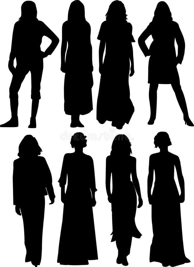 silhouette des femmes photographie stock libre de droits