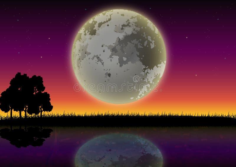 Silhouette des forêts et des lacs avec le fond de pleine lune illustration stock