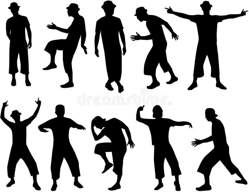 Silhouette des hommes illustration libre de droits