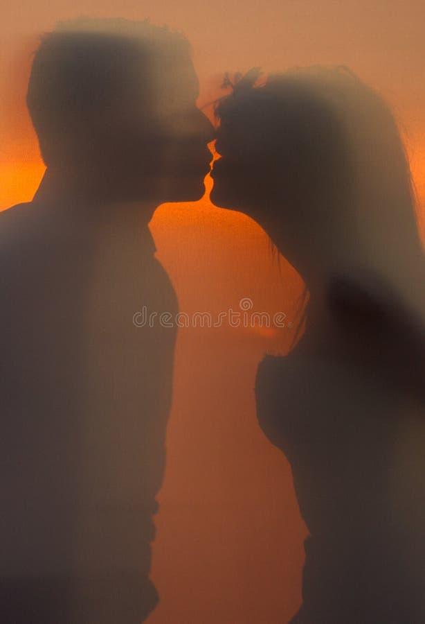 Silhouette des jeunes mari?s au coucher du soleil image stock
