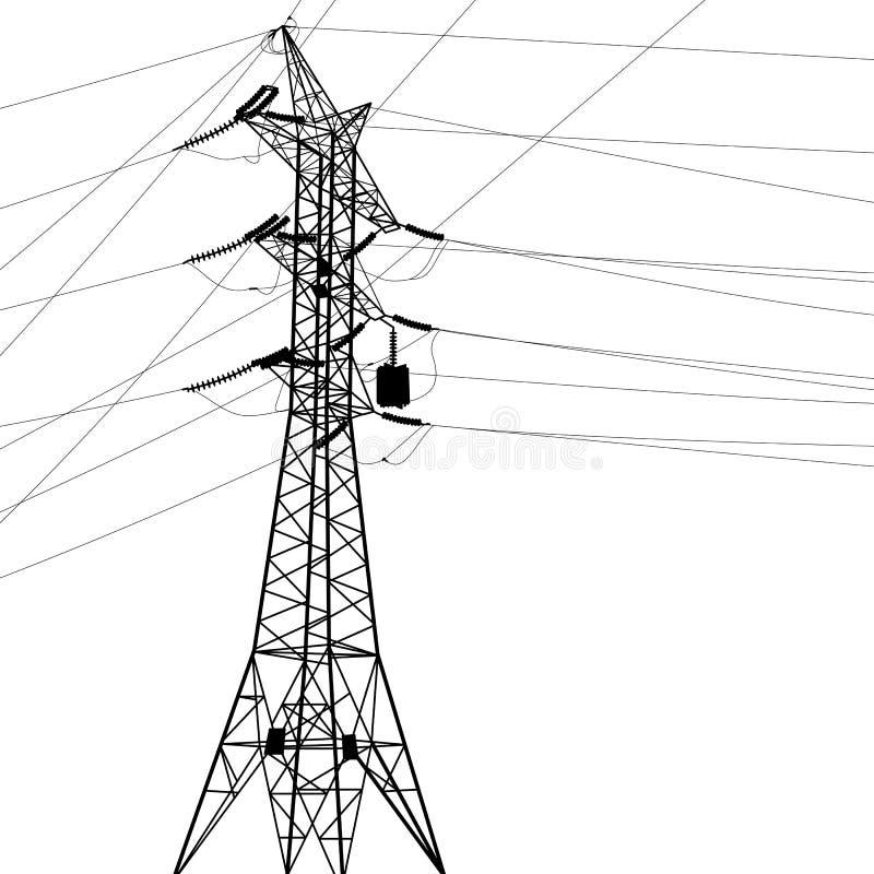 Silhouette des lignes électriques à haute tension. illustration de vecteur