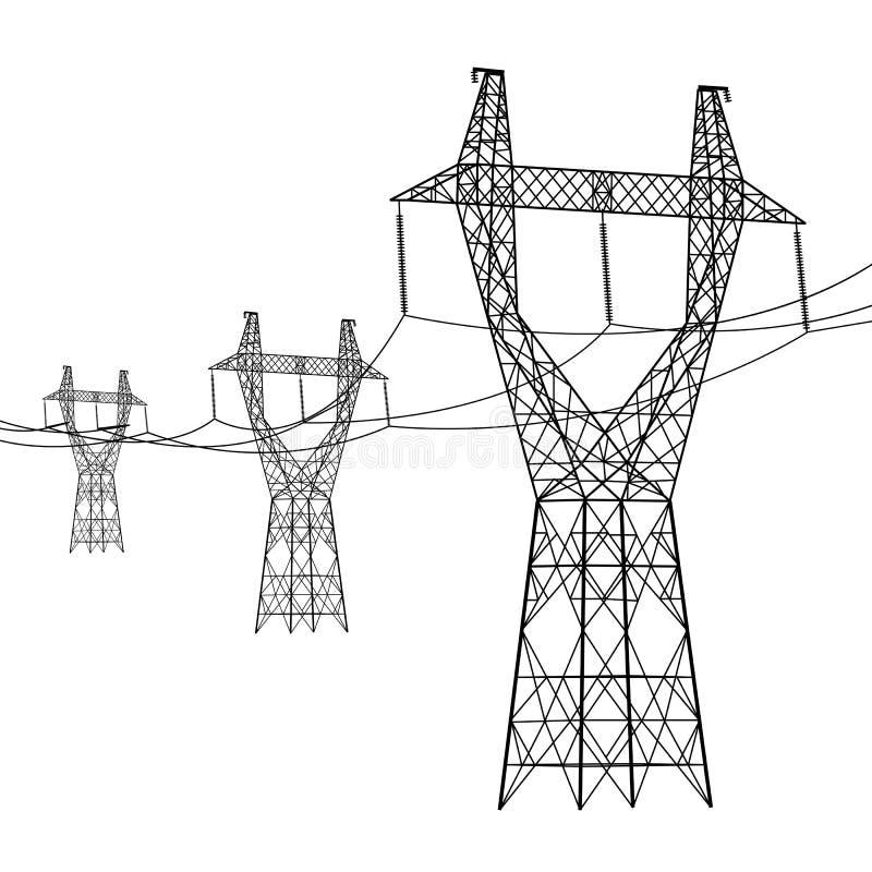 Silhouette des lignes électriques à haute tension illustration de vecteur