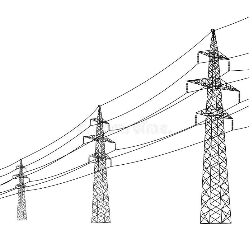 Silhouette des lignes électriques à haute tension. illustration libre de droits