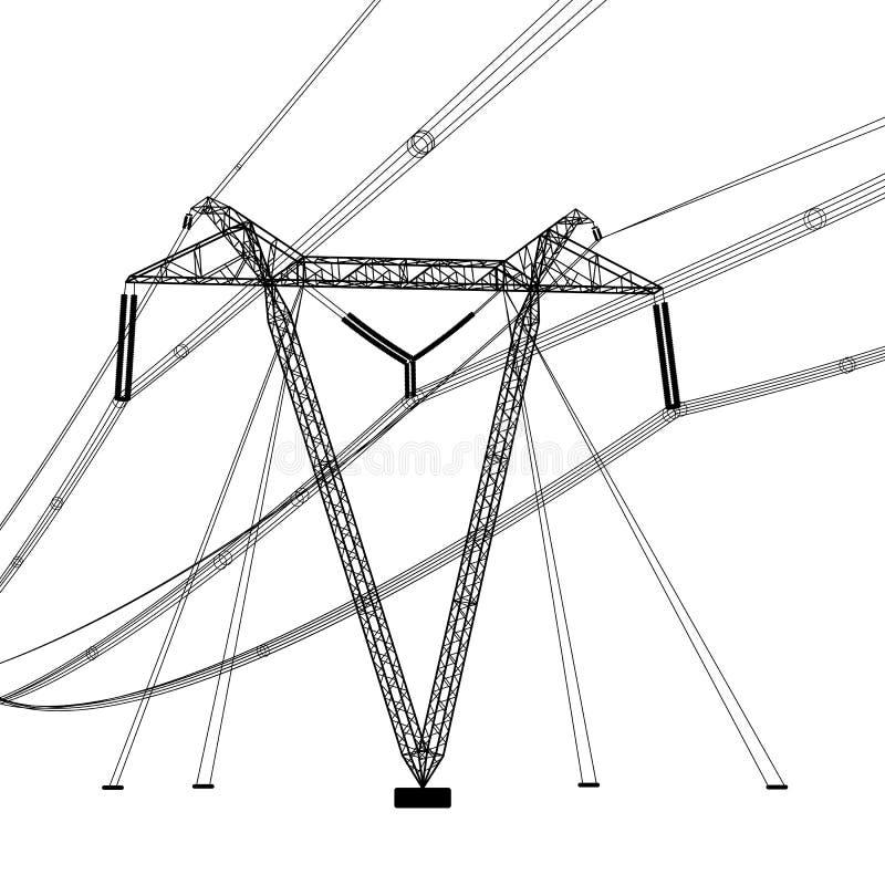 Silhouette des lignes électriques à haute tension Illustration de vecteur illustration de vecteur