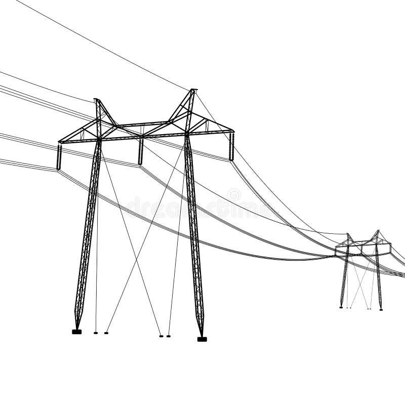 Silhouette des lignes électriques à haute tension Illustration de vecteur illustration stock