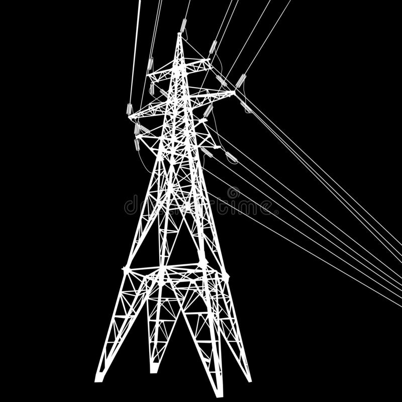 Silhouette des lignes électriques à haute tension sur l'illustration noire de fond illustration stock