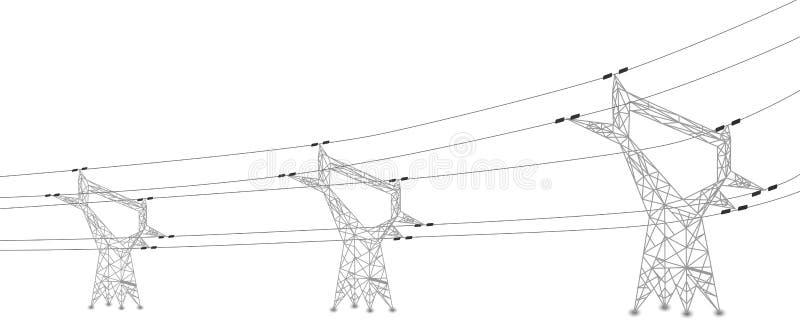 Silhouette des lignes électriques et des pylônes électriques illustration libre de droits