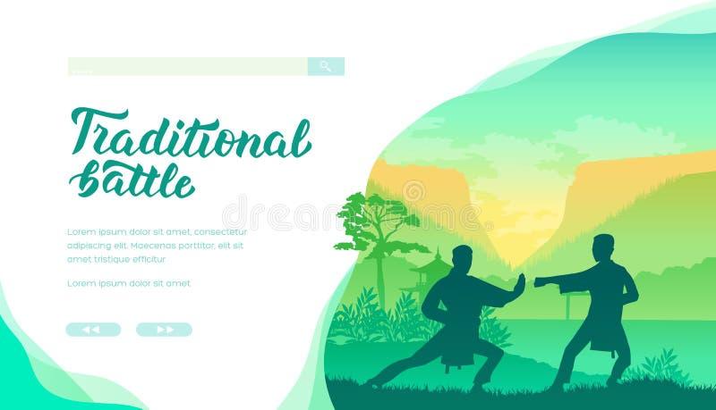 Silhouette des maîtres d'art martial de la Chine sur la nature illustration stock