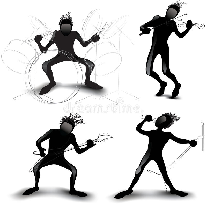 Silhouette des musiciens illustration libre de droits